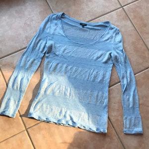 3/$30 Talbots Blue & Silver Stripe Long Sleeve Tee